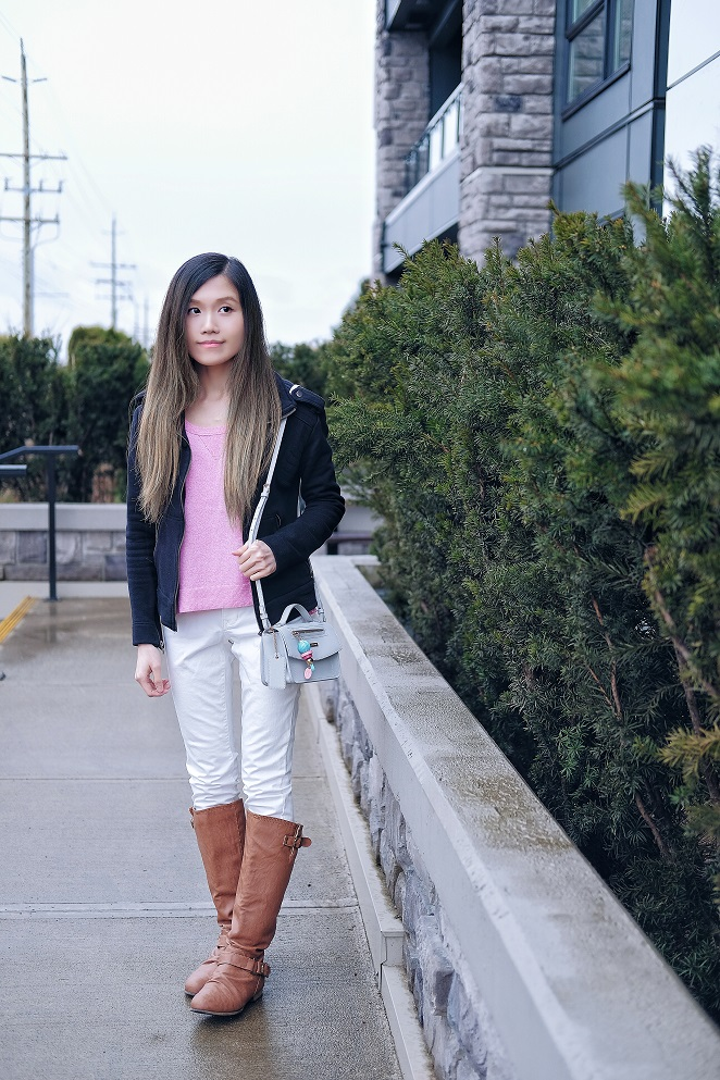 brown knee high boots with white jeans