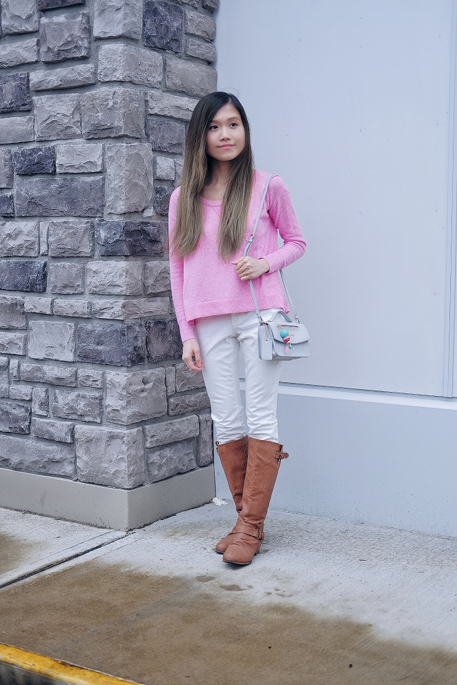 neon pink sweater
