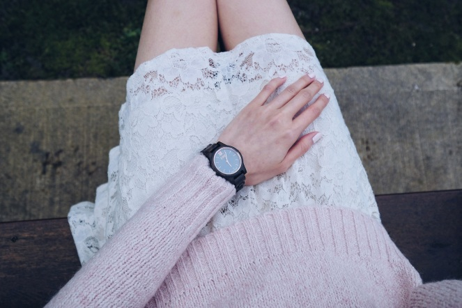 white lace skirt and Jord watch