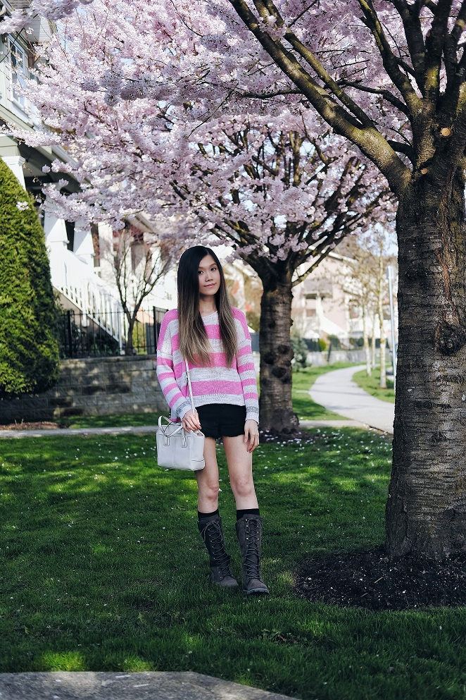 cherry blossoms, pink and white stripes sweater