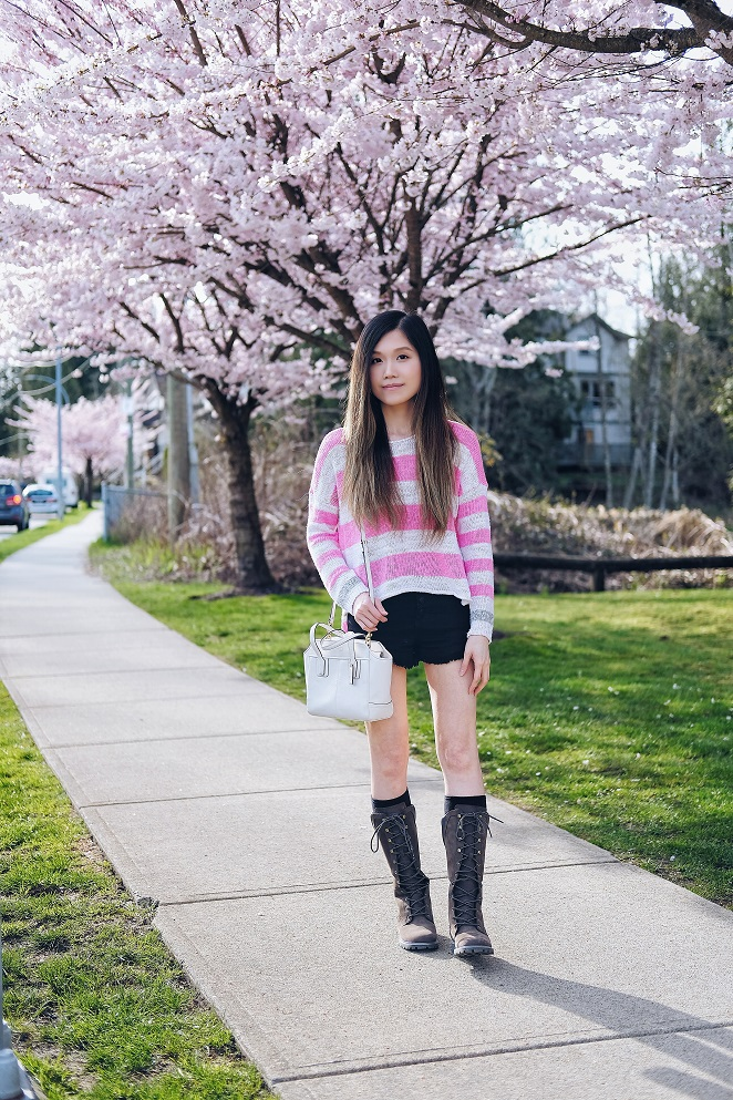 cherry blossoms, shorts with boots style