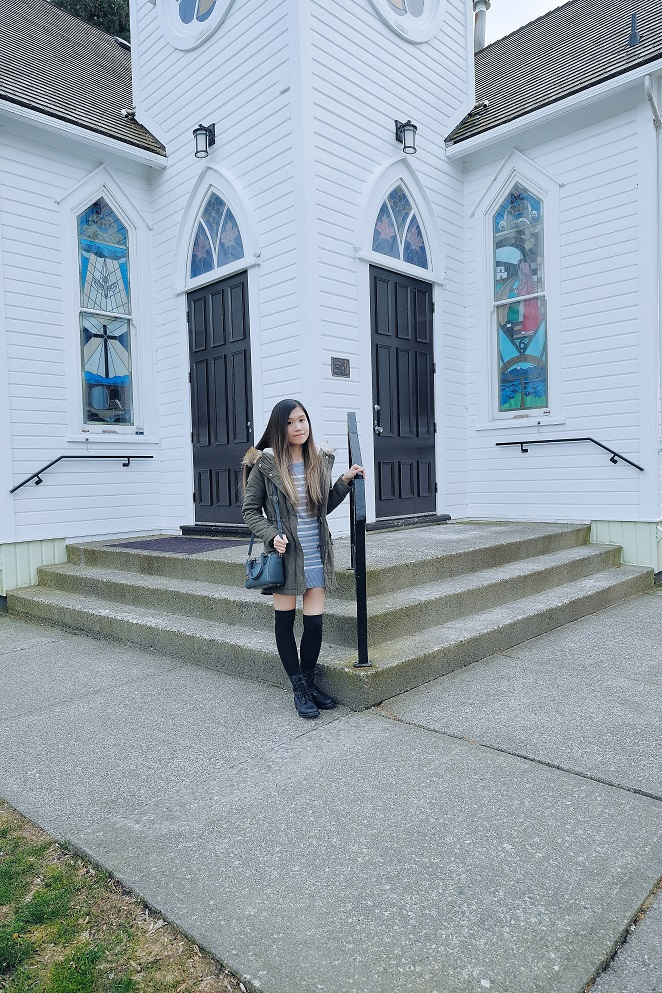 church, army green jacket, stripes dress, over the knee socks