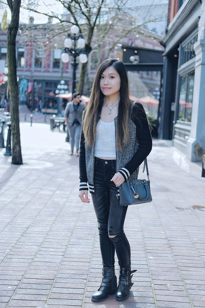 sweater bomber and dkny bag