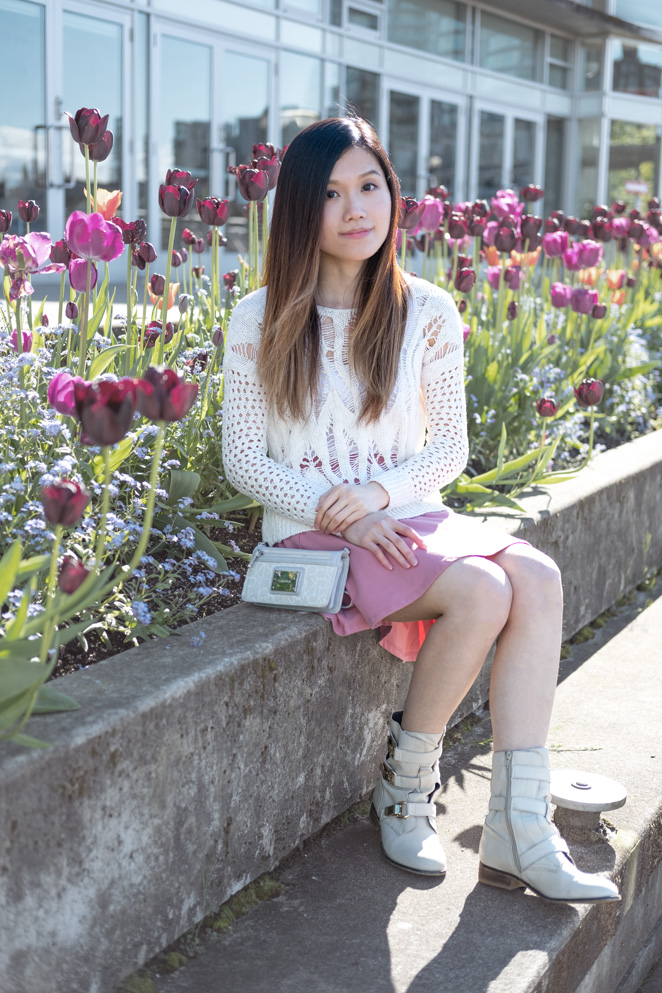 tulips, white boots, white crochet sweater, crossbody wallet