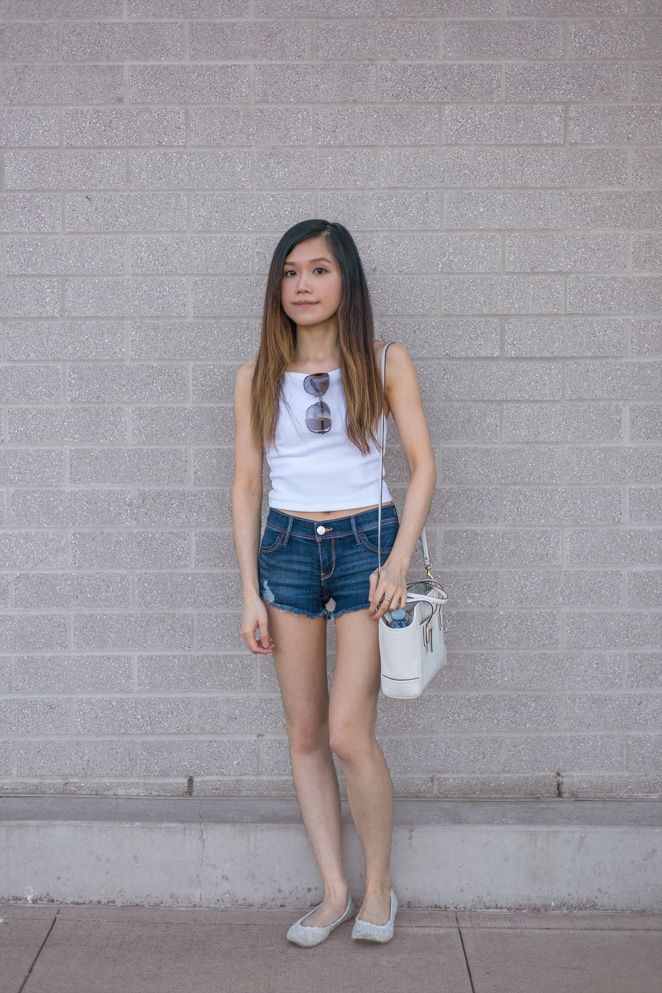 cropped tank, denim shorts, summer outfit