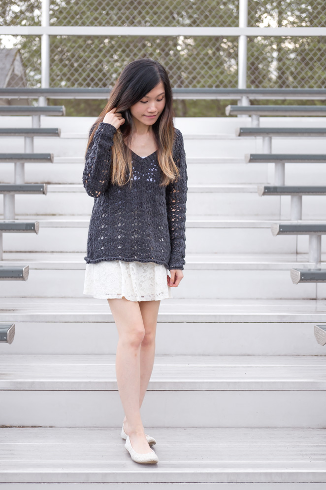 navy knitted sweater, white laceskirt, white lace flats