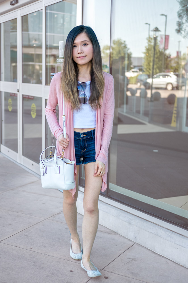 pink draped cardigan, Coach bag, summer outfit