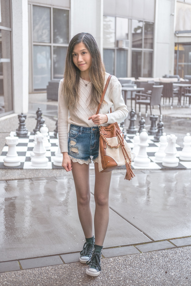 shorts with tights, converse hightop, bucket bag, human size chess