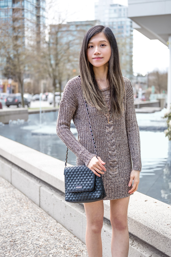 sweater dress, Mango black quilted bag