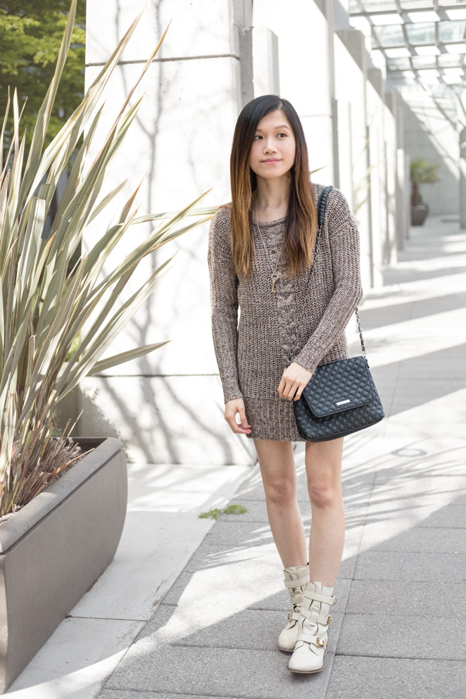 sweater dress, quilted bag, cream ankle boots