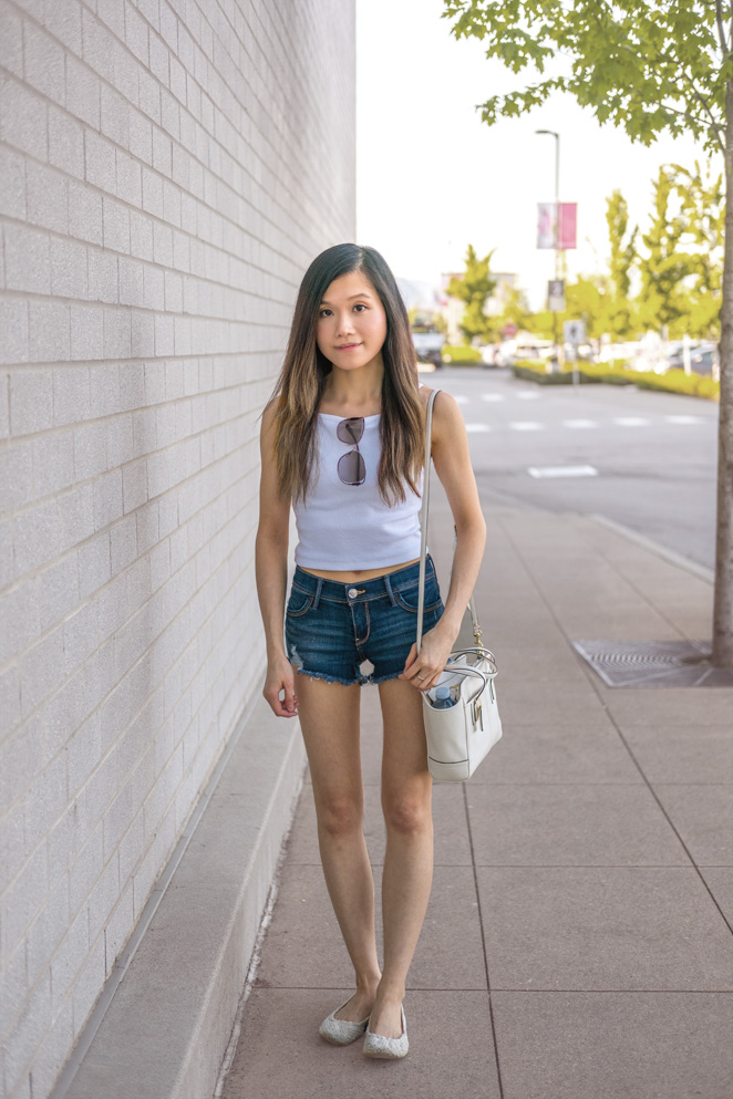 white cropped tank, denim shorts, lace flats, summer outfit
