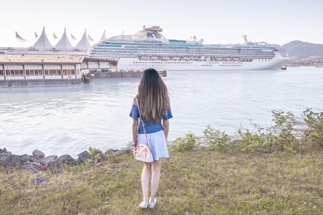 hair balayage, cruise ship, Canada Place cruise ship terminal