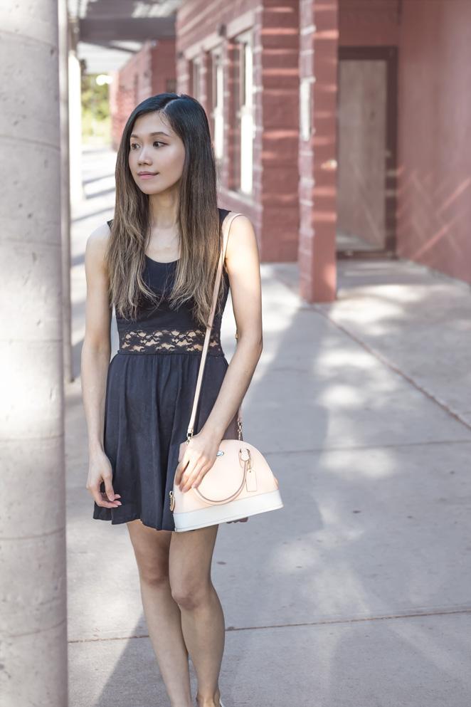 little black dress, Coach bag
