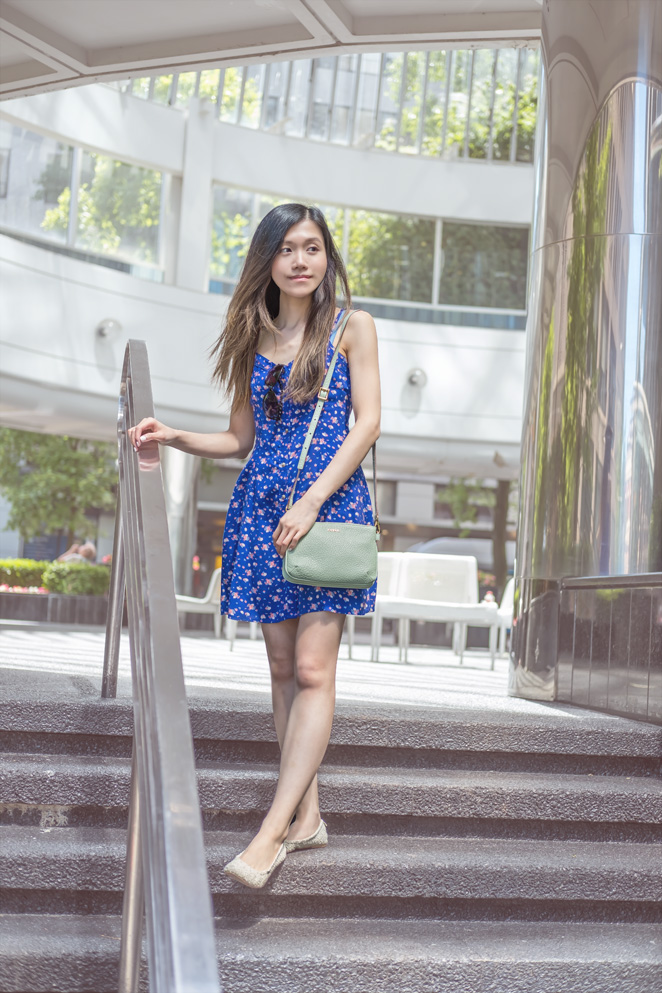 blue floral dress, Fossil mint bag