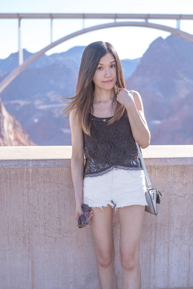 black lace top, Hoover Dam