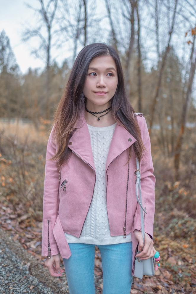 Zaful pink biker jacket, choker